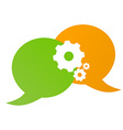 chat bubble green and orange and gears vector image vector image