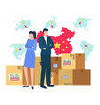 china and chinese trade market map with flag vector image vector image