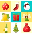 Christmas and new year icons set vector image