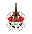 classical music label with a piano keys and cello vector image