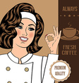 coffee advertising banner with a beautiful lady vector image vector image