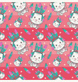 cute cat with feather seamless pattern vector image
