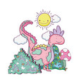 cute dinosaur in the field character vector image