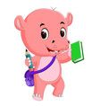 cute hippo go to school vector image vector image