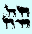 deer and buffalo pet animal action silhouette vector image vector image