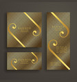 elegant premium golden banner cards invitation set vector image vector image