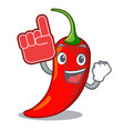foam finger red chili pepper isolated on mascot vector image vector image