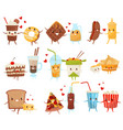 forever friends set cute funny food and drinks vector image vector image