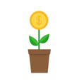 growing money tree big coin with dollar sign vector image vector image