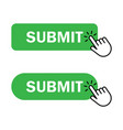 hand cursor clicks submit button vector image vector image
