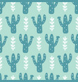 hand drawn floral mexican cacti seamless pattern vector image vector image