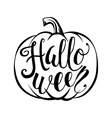 Hand drawn halloween script text with pumpkin vector image vector image