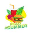 hello summer popular hashtag fast food sticker vector image vector image