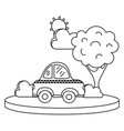 line taxi car service in the city with tree vector image vector image