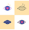 love in eye icon set in flat and line styles vector image vector image