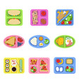 lunch box school fresh healthy food in plastic vector image vector image