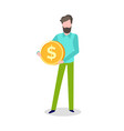 man holding golden coin with dollar sign isolated vector image