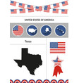 map texas set flat design icons infographic vector image