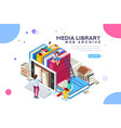 media library vector image