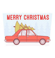 merry christmas tree on car top vector image vector image
