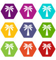 palm icons set 9 vector image