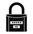 password lock icon simple style vector image vector image