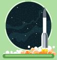 Rocket missile at launch with fire and smoke vector image