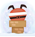santa claus comes down chimney vector image vector image