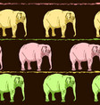 seamless background of colored elephants vector image vector image