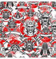 seamless pattern with samurai masks in monochrome vector image vector image