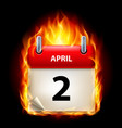 second april in calendar burning icon on black vector image vector image