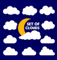 set cartoon clouds and sun isolated on blue vector image