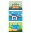 set delivery service icons vector image vector image