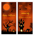 set halloween banners with scare tree castle vector image