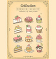 set hand-drawn icons pastries collection of vector image vector image