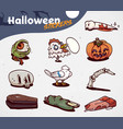 set of cartoon halloween creepy icons stickers vector image