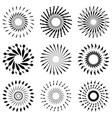 set of retro brush sun burst shapes vintage logo vector image vector image