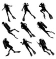 set silhouettes of divers vector image vector image