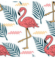 summer seamless pattern with pink flamingo vector image