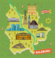 traveling map with landmarks salzburg vector image vector image