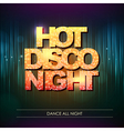 Typography Disco background Hot disco night vector image vector image