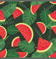 watermelon seamless pattern with tropical leaves vector image