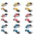 american trucks isometric low poly icon set vector image