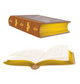 old leather-bound books vintage hand draw vector image