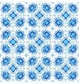 Blue floral ornament on white tile vector image
