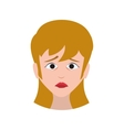 face sad woman expression cartoon icon vector image