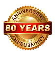 80 years anniversary golden label with ribbon