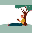 a woman sits reading a book in a park near a tree vector image vector image