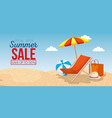 beach with summer sale icons vector image vector image