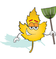 Cartoon Leaf with a Rake vector image vector image